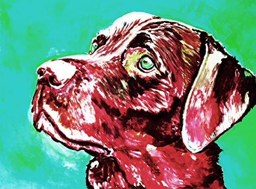 Colorful Labrador Retriever Wall Art Print | Abstract Lab Gifts | Giclee Print From Original Acrylic Painting by Oscar Jetson | Hand Signed Artwork in 8x10 and 11x14 12x16 Choice Of Sizes. - Dog portraits by Oscar Jetson