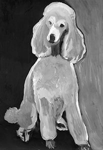 Poodle Art Print, Two-tone Black White Poodle Mom Gift Idea, Standard Poodle Lover, Neutral Home Decor Art, Dog Painting Signed by Oscar Jetson - Dog portraits by Oscar Jetson