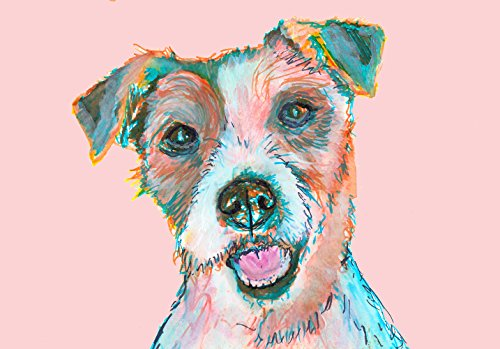 Baby Pink Jack Russell Terrier Nursery Wall Art, JRT Print, Gift for Jack Russell Owner, JRT Mom, Jack Russell Art, Jack Russell Decpr, Brown White Jack Russell Dog Watercolor - Dog portraits by Oscar Jetson