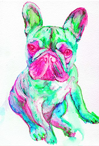 Unique French Bulldog Wall Art, Turquoise, Pink Frenchie, Gift for French Bulldog Owner, French Bulldog Decor, French Bulldog Pop Art Print, Wall Hanging French Bulldog Mom Decor - Dog portraits by Oscar Jetson
