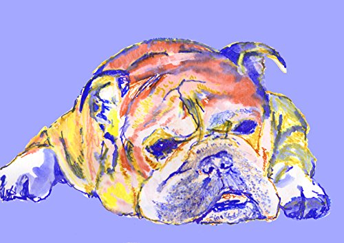 Sky Blue English Bulldog Wall Art, Abstract Bulldog Print, Bulldog Owner Gift, Colorful English Bulldog Watercolor Art Print, Wall Hanging Bulldog Decor - Dog portraits by Oscar Jetson