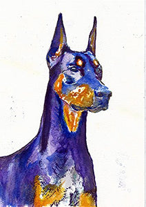 Blue Doberman Pinscher Wall Art Print, Colorful Doberman Dog Art, Dog Nursery art, Doberman Owner Gift, Dog Wall Art Print, Dobie Painting Decor - Dog portraits by Oscar Jetson