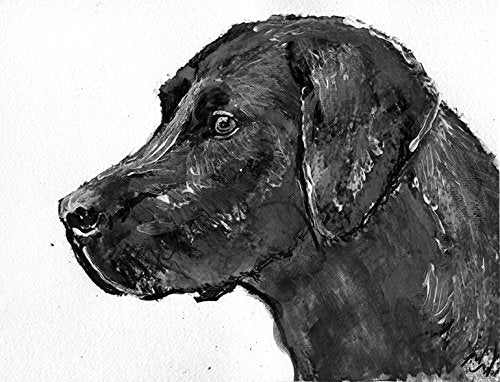Black Labrador Art Print, Lab owner Gift, Lab dog Wall Art, Black Labrador Art, Labrador Owner Gift, Lab Dog Art, Dog Wall Art Print, Signed Labrador Dog Drawing - Dog portraits by Oscar Jetson