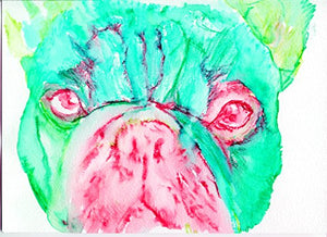 Turquoise, Aquamarine French Bulldog Wall Art Print, French Bulldog, Gift for Frenchie Owner, French Bulldog Artwork, French Bulldog Pop Art Print, Wall Hanging Pink Frenchie Gift - Dog portraits by Oscar Jetson