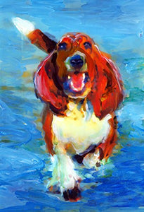 Happy Basset Hound in the Ocean Art Print, Abstract Expressive Basset Hound Mom Wall Art Print, Doggy Decor, Wall hanging Basset Mom Gift, Dog Lover, Dog Painting Print by Oscar Jetson - Dog portraits by Oscar Jetson