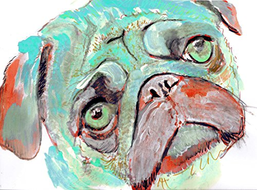 Colorful Pug Art Print, Blue, Aqua Pug Watercolor, Pug Mom Gift, Pug Dog Art, Dog Wall Art Decor, Pug Decor - Dog portraits by Oscar Jetson