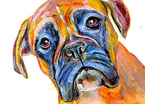 Colorful Brindle Boxer Dog Wall Art Decor, Gift For Boxer Dog Owner, Boxer Mom, Abstract Dog Portrait Painting, Nursery Art, Choice Of Sizes Hand Signed By Pet Portrait Artist Oscar Jetson - Dog portraits by Oscar Jetson