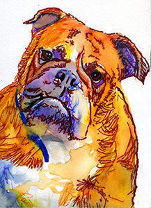 Bulldog Wall Art Print, Abstract Modern Art, Dog Owner Gift, Pet Memorial, Colorful Dog Decor Choice Of Sizes Hand Signed By Pet Portrait Artist Oscar Jetson - Dog portraits by Oscar Jetson