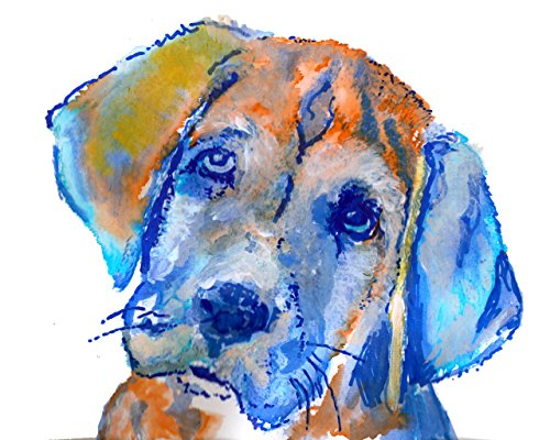 Labrador puppy gift, Colorful Lab Wall Art Print, Gift For Lab Mum, Lab Dog Print, Orange Lab Puppy, Gift For Labrador Mom, Dog Art Print, Labrador Dog Painting - Dog portraits by Oscar Jetson