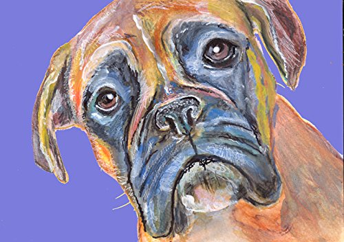 Abstract Boxer Dog Painting, Blue Boxer Dog Owner Gift Idea, Boxer Mom Art, Blue Boxer Dog Wall art, Hand Signed Boxer Dog Fine Art Print - Dog portraits by Oscar Jetson