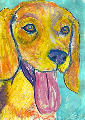 Abstract Beagle Pastel Painting Pop Art Print, Colorful Orange and TurquoiseBeagle Decor, Beagle Owner Gift, Beagle Dog Mom, Dog Wall Art Print, signed by Oscar Jetson - Dog portraits by Oscar Jetson