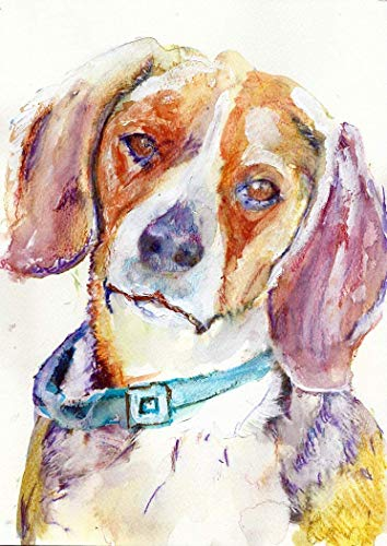 Beagle Wall Art Print, Colorful Beagle Home Decor, Beagle Memorial Gift, Print, Dog Watercolor Painting Print Choice Of Sizes Hand Signed By Pet Portrait Artist Oscar Jetson - Dog portraits by Oscar Jetson