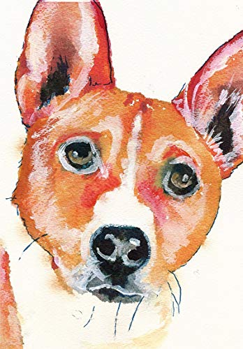 Basenji Dog Wall Art Print, Colorful Dog Memorial Picture, Nursery Painting Decor, Basenji Owner Gift Choice Of Sizes Hand Signed By Pet Portrait Artist Oscar Jetson - Dog portraits by Oscar Jetson