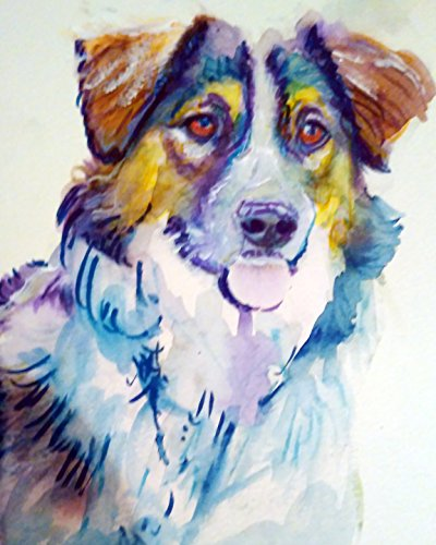 Australian Shepherd Pop Art, Dog Nursery Wall Art, Oz Shepherd Dog Art Print, Gift for Australian Shepherd Owner, Oz Shepherd Mom, Colorful Art, Aussie Dog Decor, Colorful Dog Watercolor - Dog portraits by Oscar Jetson