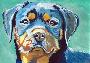 Rottweiler Wall Art Print, Colorful Rottie Owner Gift, Dog Memorial Decor Print, Hand Signed By Pet Portrait Artist Oscar Jetson Choice Of Sizes - Dog portraits by Oscar Jetson