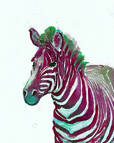 Colorful Pink and Green Zebra Wall Art Print, Zebra Lover Gift, Wildlife Decor, Safari Animal Art, African Animal Nursery Art gifts,Wildlife Decor by Oscar Jetson - Dog portraits by Oscar Jetson