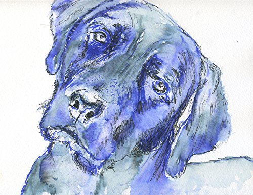 Labrador Wall Art Print, Blue Labrador Dog Art, Lab Dog Gift, Lab Dog Art Print, Colorful Labrador Dog Painting Wall Hanging Print - Dog portraits by Oscar Jetson