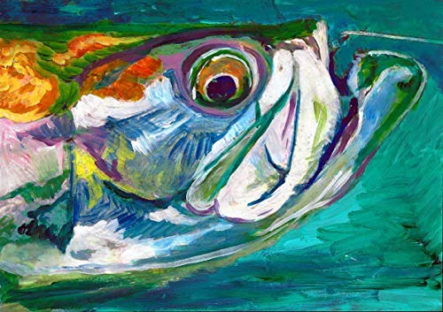 Unique Tarpon Fish Art Print, Florida Tarpon Fishing Painting Print, Hand Signed Fishing Gift By Jack Tarpon, Colorful Tarpon Wall Art Choice of Sizes - Dog portraits by Oscar Jetson