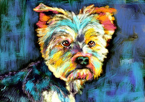 Yorkshire Terrier Wall Art Print, Colorful Dog Artwork, Yorkie Owner Gift, English Yorkshire Terrier Art Print, Colorful Yorkie Dog Painting Decor by Oscar Jetson - Dog portraits by Oscar Jetson