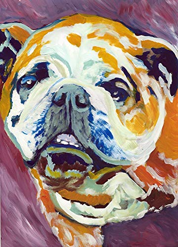 English Bulldog Wall Art Print, Colorful Abstract Bulldog Painting, Buldog Memorial Gift, Dog Painting Decor Choice Of Sizes Hand Signed By Pet Portrait Artist Oscar Jetson - Dog portraits by Oscar Jetson