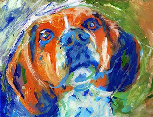 Beagle Painting Wall Art Print, Colorful Dog Memorial Art, Beagle owner Gift, Dog Wall Art Decor, Abstract Painting Decor Choice Of Sizes Hand Signed By Pet Portrait Artist Oscar Jetson - Dog portraits by Oscar Jetson