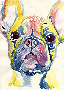 French Bulldog Wall Art Decor, Frenchie Mom Gift, Dog Memorial, Frenchy Picture, Nursery Art Print, Choice Of Sizes Hand Signed by Canine Portrait Artist Oscar Jetson - Dog portraits by Oscar Jetson