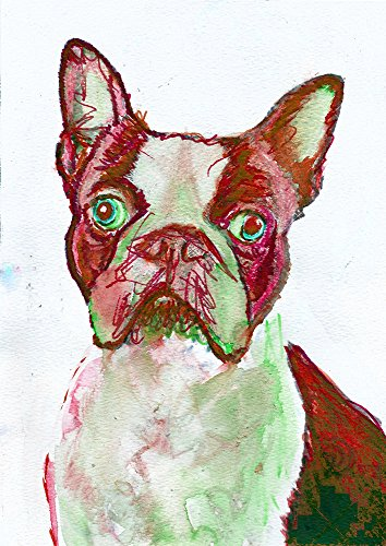Red Boston Terrier Wall Art Print, Modern Boston Terrier Nursery Art, Boston Terrier Owner Gift, Dog Art Print, Colorful Dog Wall Art Print - Dog portraits by Oscar Jetson