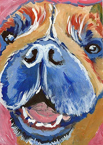 Abstract Happy Smiley French Bulldog Wall Art Print, French Bulldog Mom Gift, Frenchie Owner, Dog Wall Art Print, Colorful Dog Decor Choice Of Size Hand Signed by Artist Oscar Jetson. - Dog portraits by Oscar Jetson