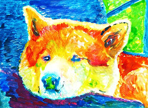 Akita Wall Art Print, Colorful Akita Dog Art, Dog Owner Gift, Akita Dog Memorial, Colorful Nursery Painting Decor Choice Of Sizes Hand Signed By Pet Portrait Artist Oscar Jetson. - Dog portraits by Oscar Jetson