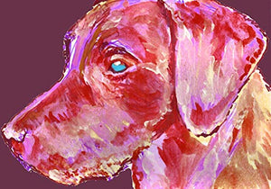 Labrador Wall Art Print Purple, Pink Lab Gift, Dog Artwork, Gift For Labrador Owner Choice of Sizes Hand Signed by Pet Portrait Artist Oscar Jetson. - Dog portraits by Oscar Jetson