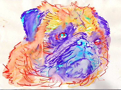 Abstract Colorful Pug Modern Art Print, Dog Gift, Pug Owner, Pug Dog Picture, Dog Wall Art Decor, Pug Expressive Painting Print hand signed by Oscar Jetson - Dog portraits by Oscar Jetson