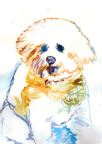 Bichon Frise Gifts, Abstract Bichon Frise Painting Art Print, Bichon Frise Owner Gift, Bichon Frise Watercolour, Bichon Frise Painting Print, Choice of size Hand Signed by Oscar Jetson - Dog portraits by Oscar Jetson