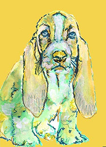 Basset Hound Wall Art Print, Colorful Dog Nursery Artwork, Basset Hound Memorial Gift, Modern Decor, Abstract Dog Painting Picture Hand Signed By Pet Portrait Artist Oscar Jetson - Dog portraits by Oscar Jetson