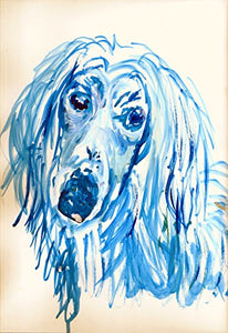Afghan Hound Painting Art Print, Colorful Blue Noahs Dog Gift, Afghan Hound Mom, Tazi Dog Pop Art, Modern Dog Art, Blue and White Decor, Colorful Dog Painting Portrait by Oscar Jetson - Dog portraits by Oscar Jetson