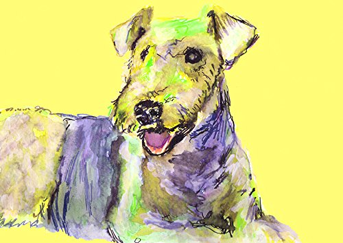 Airedale Terrier Owner Dog Wall Art Print, Colorful Yellow Airedale Home Decor, Airedale Terrier Mom Gift, Airedale Lover Colorful Wall Hanging Decor - Dog portraits by Oscar Jetson