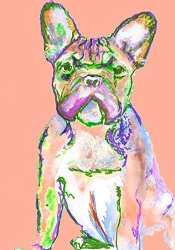 Pink White French Bulldog Art, Peach French Bulldog Gift, Frenchie owner, French Bulldog Art, Dog Wall Art Print, Colorful Dog Wall Hanging Frenchie Gift - Dog portraits by Oscar Jetson