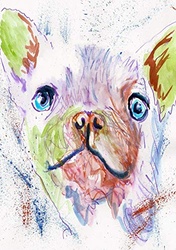White French Bulldog Wall Art Print, Frenchie Owner Gift, Frenchy Memorial Art, Colorful Dog Picture Hand Signed By Dog Portrait Artist Oscar Jetson, Choice Of Sizes. - Dog portraits by Oscar Jetson