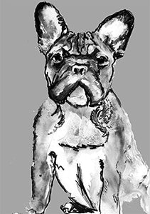 French Bulldog Painting Wall Art, Black and White French Bulldog Owner Gift, Frenchie Dog Artwork, French Bulldog Poster Dog Art Print - Dog portraits by Oscar Jetson