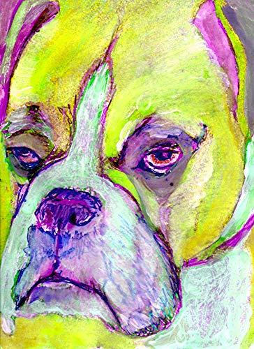 Abstract Boxer Dog Wall Art, Yellow Purple Boxer Dog Owner Gift Idea, Boxer Mom Art, Hand Signed Boxer Dog Fine Art Print by Artist Oscar Jetson - Dog portraits by Oscar Jetson