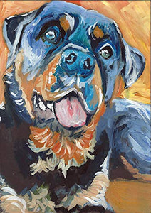 Rottweiler Painting Wall Art Print, Colorful Rottie Portrait, Dog Owner Gift, Colorful Dog Memorial Painting Decor Hand Signed By Oscar Jetson Choice Of Sizes - Dog portraits by Oscar Jetson