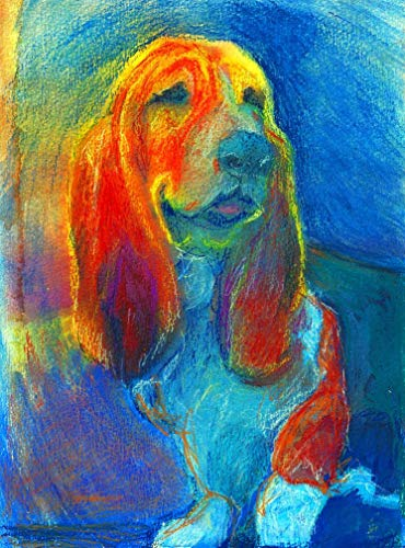 Basset Hound Painting Wall Art Print, Colorful Dog Memorial Art, Nursery Decor, Basset Hound Dog Picture, Hand Signed By Oscar Jetson, Choice Of Sizes 8x10, 11x14, 12x16 Dog Mom Gift - Dog portraits by Oscar Jetson