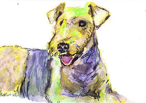 Airedale Terrier Dog Wall Art Print, Colorful Yellow Airedale Dog Modern Art Print by Artist Oscar Jetson - Dog portraits by Oscar Jetson