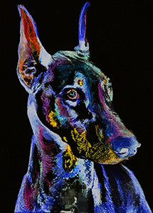 Modern Doberman Wall Art, Purple, Blue Black Doberman Pinscher Dog Breed Watercolor Dobie Art Print, Doberman Mom Home Decor - Dog portraits by Oscar Jetson