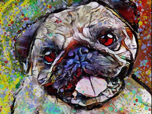 Pug Dog Wall Art Decor, Abstract Happy Pug Dog Memorial, Abstract Dog Picture Gift Choice of Sizes Hand Signed by Dog Portrait Artist Oscar Jetson. - Dog portraits by Oscar Jetson