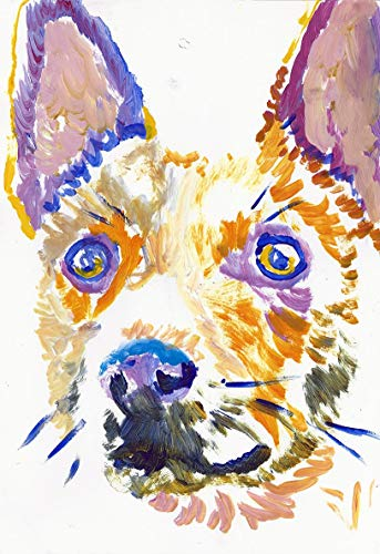 Abstract Basenji Dog Art Decor Print, Colorful Dog Nursery Art, Basenji Owner Gift, Dog Memorial Picture, Colorful Dog Artwork Hand Signed By Pet Portrait Artist Oscar Jetson Choice Of Sizes 8x10.
