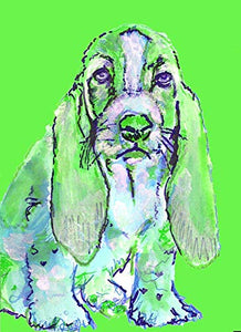 Green Basset Hound Wall Art Print, Dog Nursery Artwork, Dog Owner Gift, Gift For Her Choice of Size Hand Signed by Pet Portrait Artist Oscar Jetson. - Dog portraits by Oscar Jetson