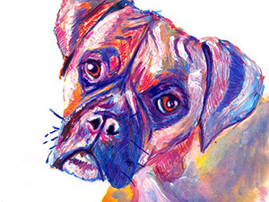 Colorful Brindle Boxer Dog Wall Art, Gift For Boxer Dog Owner, Boxer Mom Art, Dog Nursery Art Print, Choice Of Sizes Hand Signed By Pet Portrait Artist Oscar Jetson - Dog portraits by Oscar Jetson