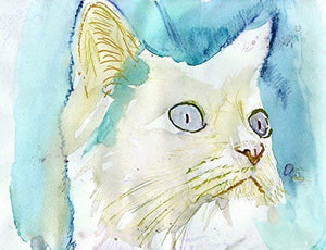 White Cat Wall Art Print, Colorful Blue Cat Decor, Cute Cat Gift, Cat Owner, Kitten Watercolor print, Choice of Sizes hand signed by Pet Portrait Artist Oscar Jetson. - Dog portraits by Oscar Jetson