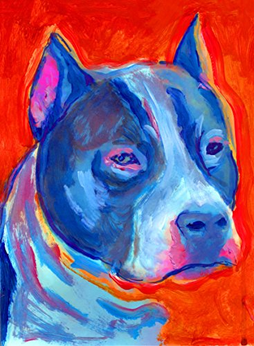 american Staffordshire Terrier Painting Pop Art Print, Colorful Orange and Blue Pitbull Dog Decor, Staffy Owner Gift, Staffie Dog Mom, Dog Wall Art Print, signed by Oscar Jetson - Dog portraits by Oscar Jetson