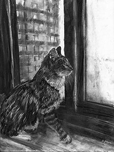 Charcoal Tabby Cat, Black and White Cat Charcoal Wall Art Print, White Cat Art, Cat Owner Gift, Kitten Wall Art Print, Cat Wall Hanging Gift - Dog portraits by Oscar Jetson